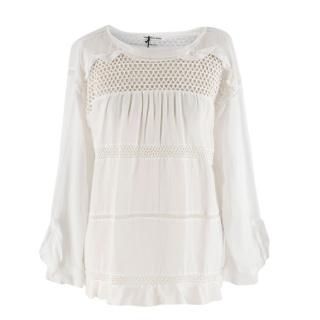 Isabel Marant Etoile White Knit Long-sleeve Blouse
