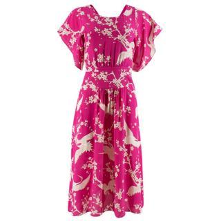 No.21 Silk Print Crane Print Dress