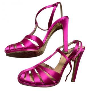 Robero Cavalli pink satin heels