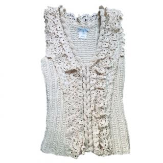 Oscar De La Renta cream wool/silk knitted gilet
