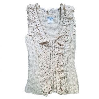 Oscar De La Renta cream wool/silk knitted gilet