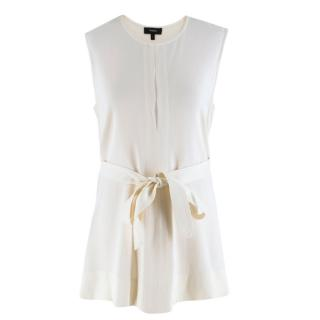 Theory Sleeveless Cream Top with Waist Tie