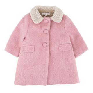 Caramel Baby Girl's Pink Wool Blend Coat