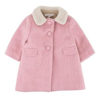 Caramel Baby Girl's Pink Wool Blend Coat