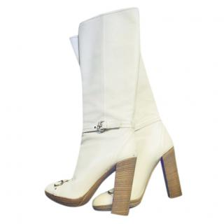 Dior white leather horse bit heeled boots