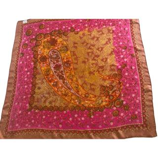 Petrusso hand made pink and bronze silk scarf