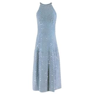 Patricia Viera Blue Suede Sequin Embellished Halterneck Dress