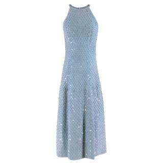 Patricia Viera Blue Suede Sequin Embellished Halterneck Dress