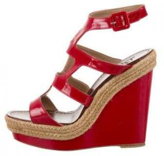 Christian Louboutin Red Patent Espadrille Wedges