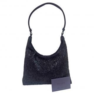 Prada vintage black lurex & satin bag
