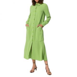 Tibi Green Fluted Stretch-crepe Shirt dress