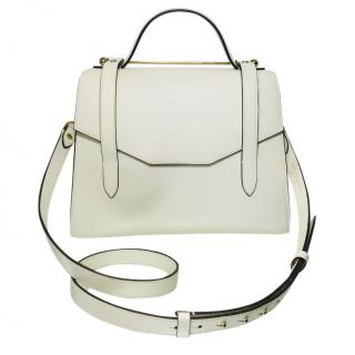 Strathberry white leather top handle bag