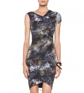 Helmut Lang Oxide Print Star Twist Dress