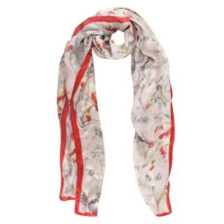 TB Bespoke Silk Floral & Fairy Print Scarf