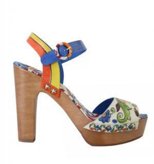 Dolce & Gabbana Hand-Painted Platform Clog Sandals