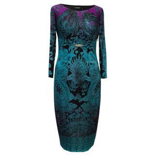 Roberto Cavalli Turquoise, Purple And Black Printed Dress