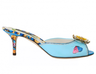 Dolce & Gabbana floral embellished blue butterfly print mules