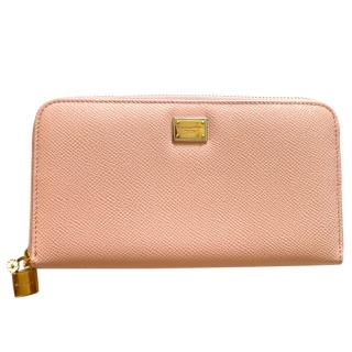 Dolce & Gabbana Pink Leather Zip-Around Continental Wallet