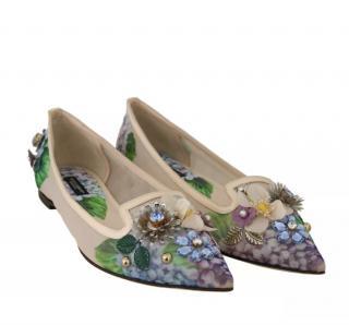 Dolce & Gabbana Hydrangea Print Crystal Embellished Flats