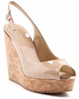 Jimmy Choo Prova Patent Slingback Wedge Sandals