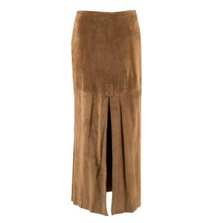 Joseph Tan Suede Split Long Skirt