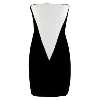 Amanda Wakeley Black Velvet Dress with White Silk Insert