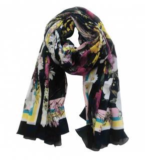 Dolce & Gabbana Black Floral Wrap Scarf