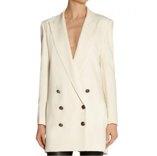 Pierre Balmain Double-Breasted Ponte Blazer in Natural