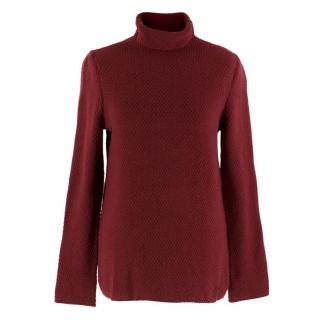 Salvatore Ferragamo Red Wool Knit Rollneck Sweater