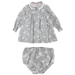 La Coqueta Baby Girl's Grey Floral Dress and Knickers