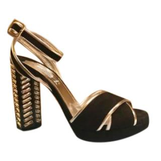 Prada crystal embellished block heel sandals