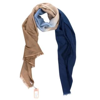 Gaynor Cashmere Ombre Blue & Beige Scarf