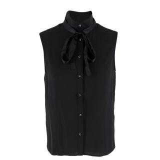Giorgio Armani Black Silk Embellished Top