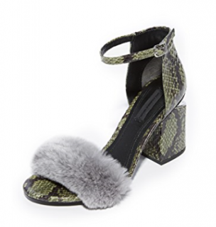 Alexander Wang Snakeskin & Rabbit Fur Sandals