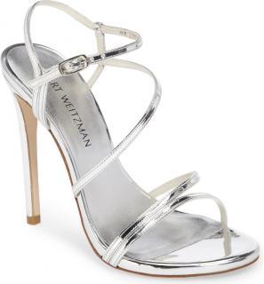 Stuart Weitzman Follie Metallic Silver Sandals