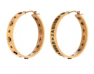 Dior gold tone j'adior hoop earrings