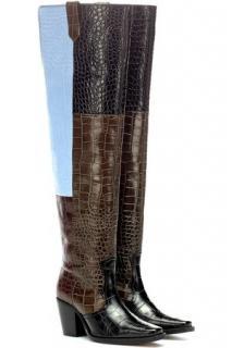 Ganni faux-crocodile polido patchwork boots