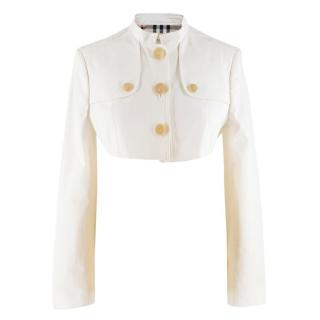 Burberry White Cropped Jacket