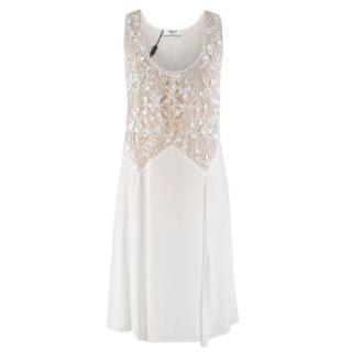 Blugirl White Sequin Embellished Midi Dress
