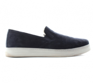 Prada Blue suede & shearling loafers