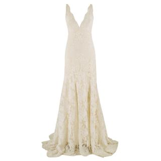 Monique Lhuillier Cream Lace Trumpet Wedding Dress