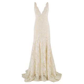 Monique Lhuillier Cream Lace Trumpet Wedding Dress