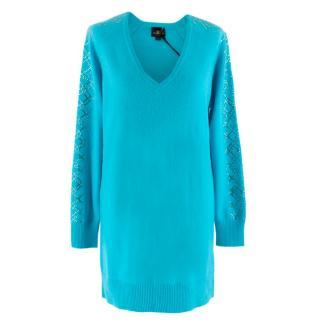 William Sharp Blue Cashmere Crystal Embellished Long Sweater