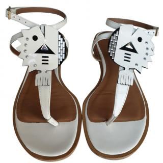 Emporio Armani white embellished sandals