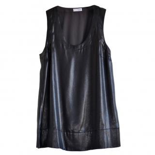 Brunello Cucinelli black lame sleeveless top
