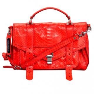 Proenza Schouler Red Python PS1 Satchel Bag