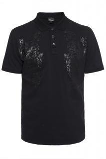 Just Cavalli black leopard polo t-shirt