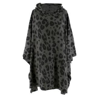 William Sharp Grey Cheetah Print Cashmere Hooded Poncho