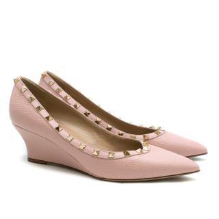 Valentino Pink Leather Rockstud Wedges