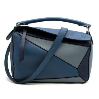 Loewe Blue Small Puzzle Bag